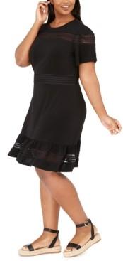 Michael Kors Michael Plus Size Mesh Mix Dress