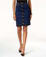 INC International Concepts Petite Button-Front Denim Skirt, Only at Macy's