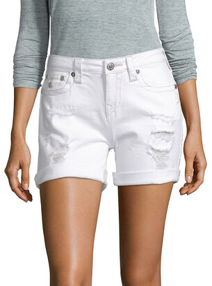 True Religion Optic White Destroyed Mid Cut-Off Short