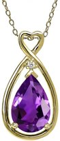 Gem Stone King 2.61 Ct Pear Shape Purple Amethyst White Sapphire 14K Yellow Gold Pendant