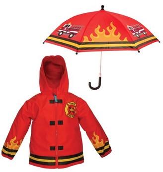 Stephen Joseph Boys Rain Coat/Umbrella Set - Firetruck