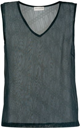 Dries Van Noten Pre Owned 1990s V-neck sheer top