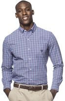 Chaps Big & Tall Classic-Fit Tattersall Plaid Poplin Button-Down Shirt