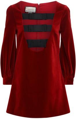 Gucci Stretch Cotton Velvet Mini Dress W/ Bows