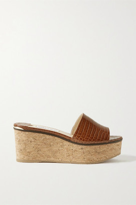 Jimmy Choo Deedee 80 Croc-effect Leather Wedge Mules - Tan