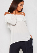 Missy Empire Fern White Bardot Ruffle Blouse
