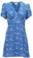 HVN Paula Bird-print Silk Mini Dress - Womens - Blue