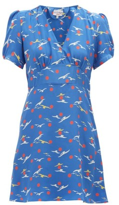 HVN Paula Bird-print Silk Mini Dress - Womens - Blue