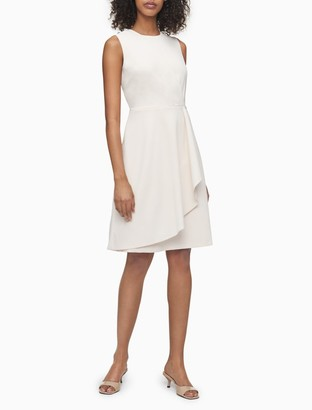 Calvin Klein Solid Sleeveless Cascading Ruffle Dress