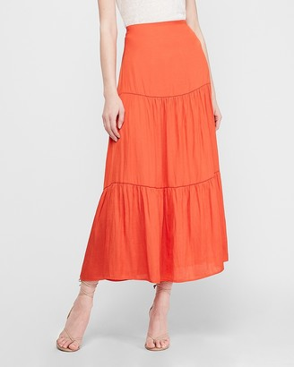 Express High Waisted Satin Tiered Maxi Skirt