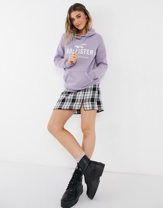 Hollister front logo hoodie in lilac