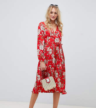 Influence Tall mid floral dress with pleated skirt and tie waist-Red
