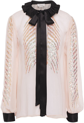 Temperley London Pussy-bow Satin-trimmed Sequined Georgette Blouse