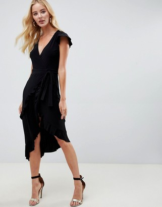 Asos Design DESIGN wrap dress with frill sleeve-Black