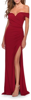 La Femme Off the Shoulder Jersey Gown
