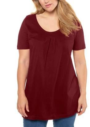 Ulla Popken Women's Bhnate Poloshirt Noos Long Sleeve Top