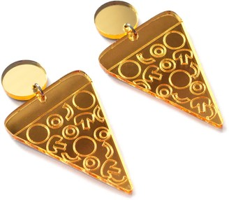 Boo And Boo Factory Gold Laser Cut Acrylic Pizza Statement Earrings
