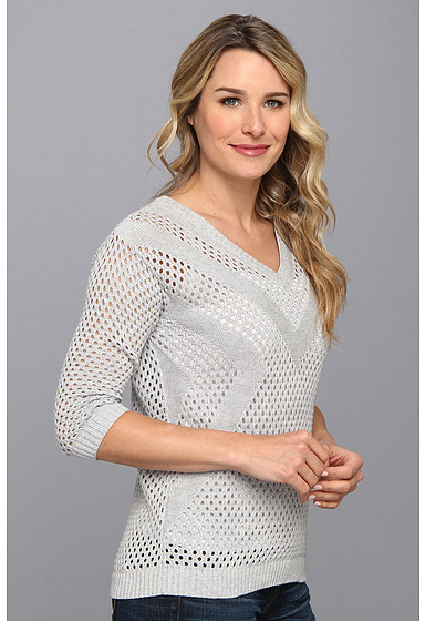 Vince Camuto TWO by V-Neck Placed Pointelle Sweater