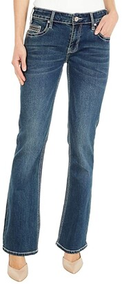 Rock and Roll Cowgirl Rival Low Rise with Geometric Pocket in Dark Vintage W6-6124 (Dark Vintage) Women's Jeans