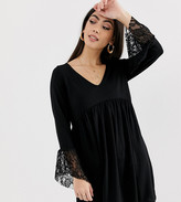 Asos DESIGN Petite v neck swing dress with flared lace cuffs in black