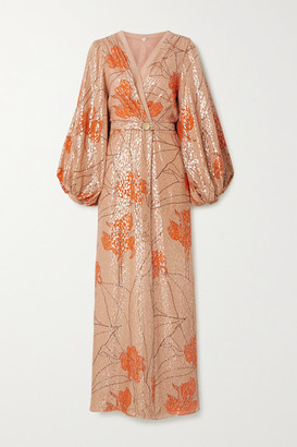 Johanna Ortiz Bella Illusion Belted Printed Fil Coupe Silk-blend Maxi Dress - Blush