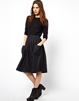 Asos Midi Skirt in Pinstripe with Pockets - Navy