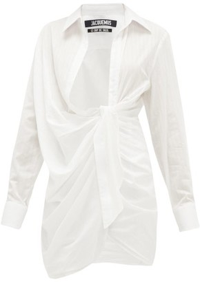 Jacquemus Bahia Gathered Cotton-poplin Mini Shirt Dress - Womens - White