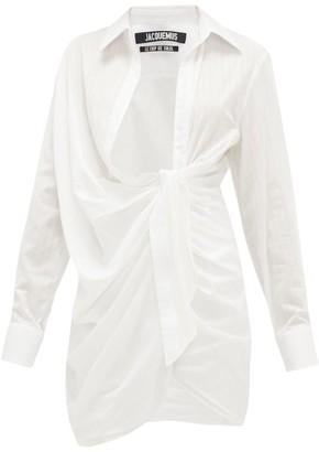 Jacquemus Bahia Gathered Cotton-poplin Mini Shirtdress - Womens - White