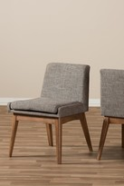 Wholesale Interiors Nexus Mid-Century Modern Walnut Wood Finish & Gravel Fabric Upholstered Dining Side Chair - Set of 2