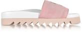 Joshua Sanders Pink Fleece and Leather Smile Slide Sandals