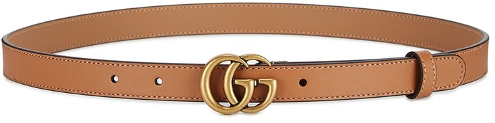 Gucci GG Light Brown Leather Belt