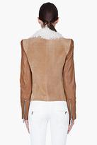Barbara Bui Brown Tonal Shearling Zip Jacket