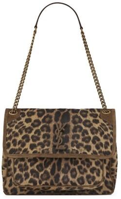 Saint Laurent Medium Leopard Print Haircalf Niki Shoulder Bag