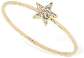 Ef Collection Gold Mini Diamond Star Stackable Ring