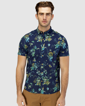 Brooksfield Large Floral Print Short Sleeve Casual Shirt