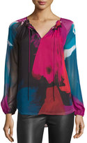 Diane von Furstenberg Saylor Abstract-Printed Peasant Blouse