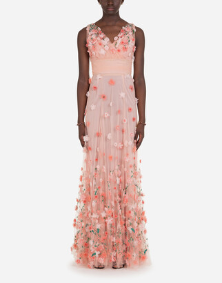 Dolce & Gabbana Long Dress In Tulle With Sequins And Mini Hand-Embroidered Flowers
