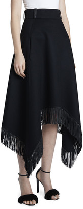 Saint Laurent Wool-Cashmere Handkerchief Midi Skirt w/ Fringe Hem
