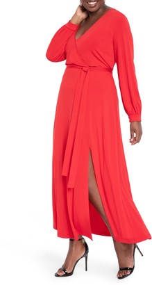 ELOQUII Wrap Front Long Sleeve Matte Jersey Maxi Dress