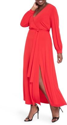 ELOQUII Wrap Front Long Sleeve Matte Jersey Maxi Dress