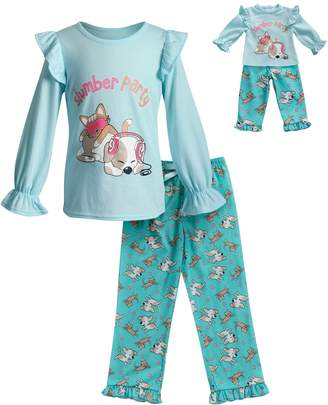 Dollie & Me Girls 4-14 2-Piece Printed Knit Sleep Set with Doll Set