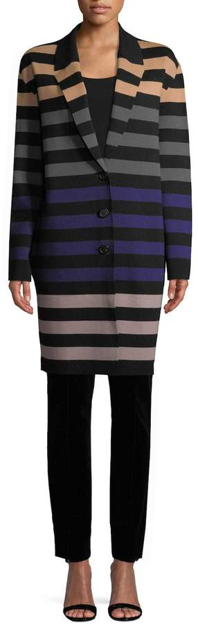 Diane von Furstenberg Women's Striped Car Coat