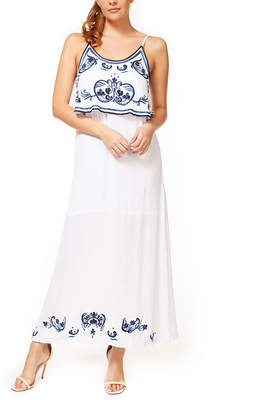 Devoted Women's Casual Dresses 70145-WHITE/BLUE/BLACK - White & Blue Floral Embroidered Sleeveless Maxi Dress - Women
