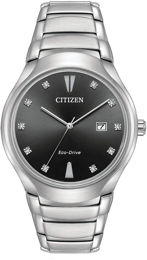 Citizen Eco-Drive Men's Diamond-Accent Silver-Tone Stainless Steel Bracelet Watch 40mm