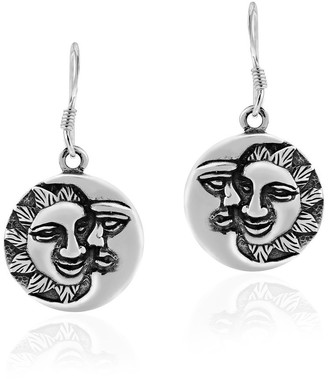 Aeravida Handmade Celestial Eclipse Sun and Moon Round Sterling Silver Dangle Earrings