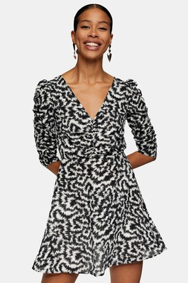 Topshop Black and White Print Ruched Front Mini Dress