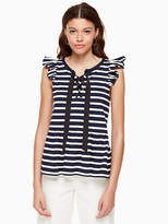 Kate Spade Lace-up stripe knit tee