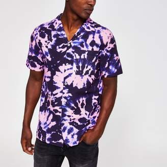 River Island Mens Purple tie dye short sleeve shirt