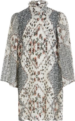 River Island Girls Cream floral pleated trapeze dress