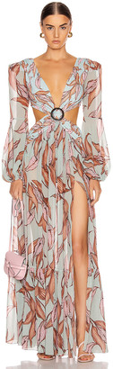 PatBO Printed Long Sleeve Cutout Dress in Peace Lily | FWRD
